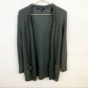 Forever 21 l Grey Knit Open Cardigan.